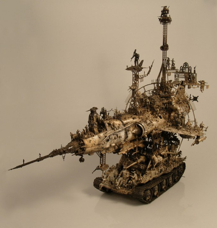 "Kris Kuksi, ""Sub-Sonic Dissidence Propulsion Device."" Mixed media assemblage, 2008."